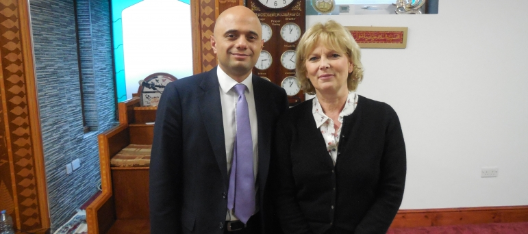 With Culture Secretary, Sajid Javid, at the Beeston Muslim Centre